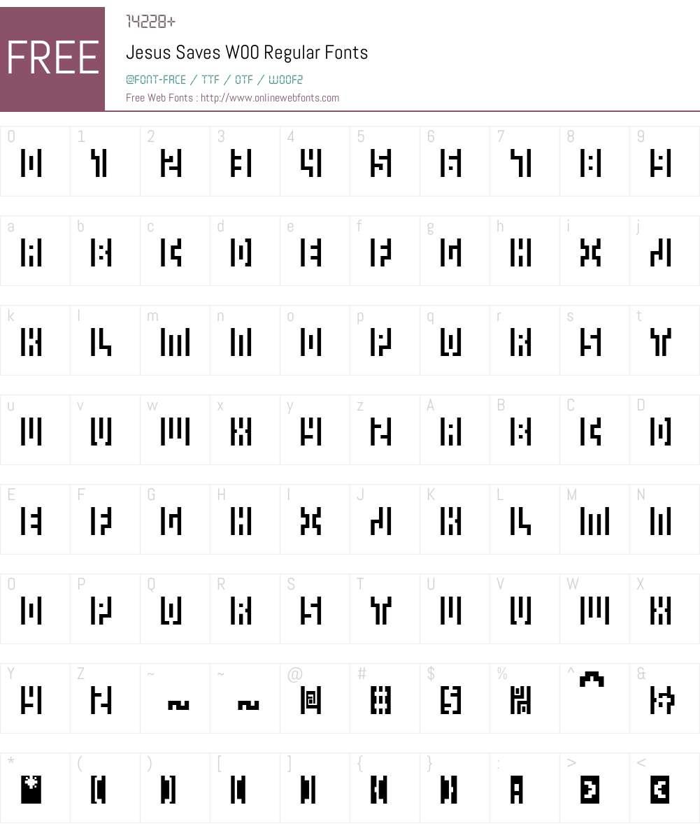 JesusSavesW00-Regular Font Screenshots