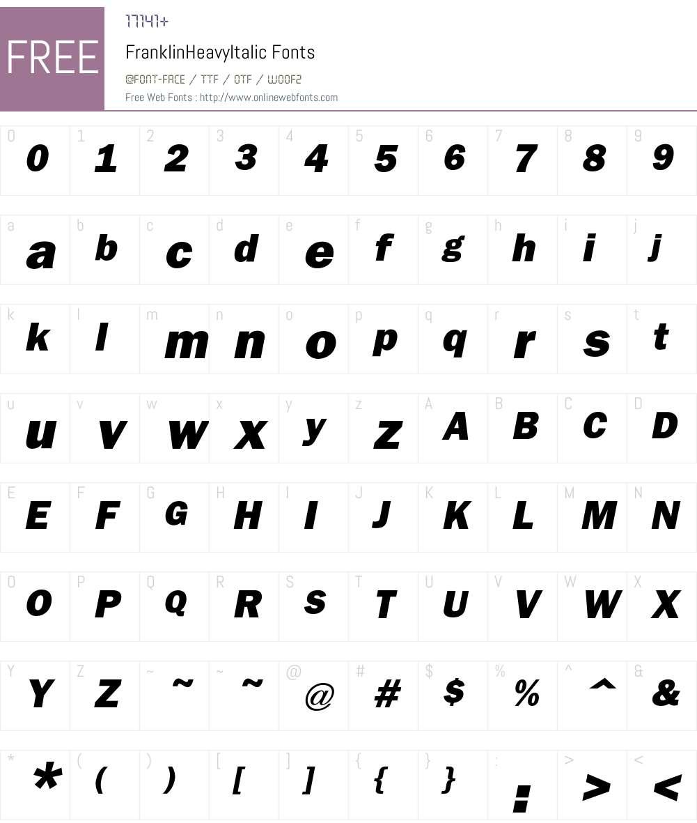 Franklin Font Screenshots