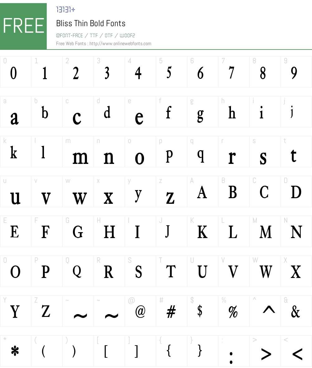 Bliss Thin Font Screenshots