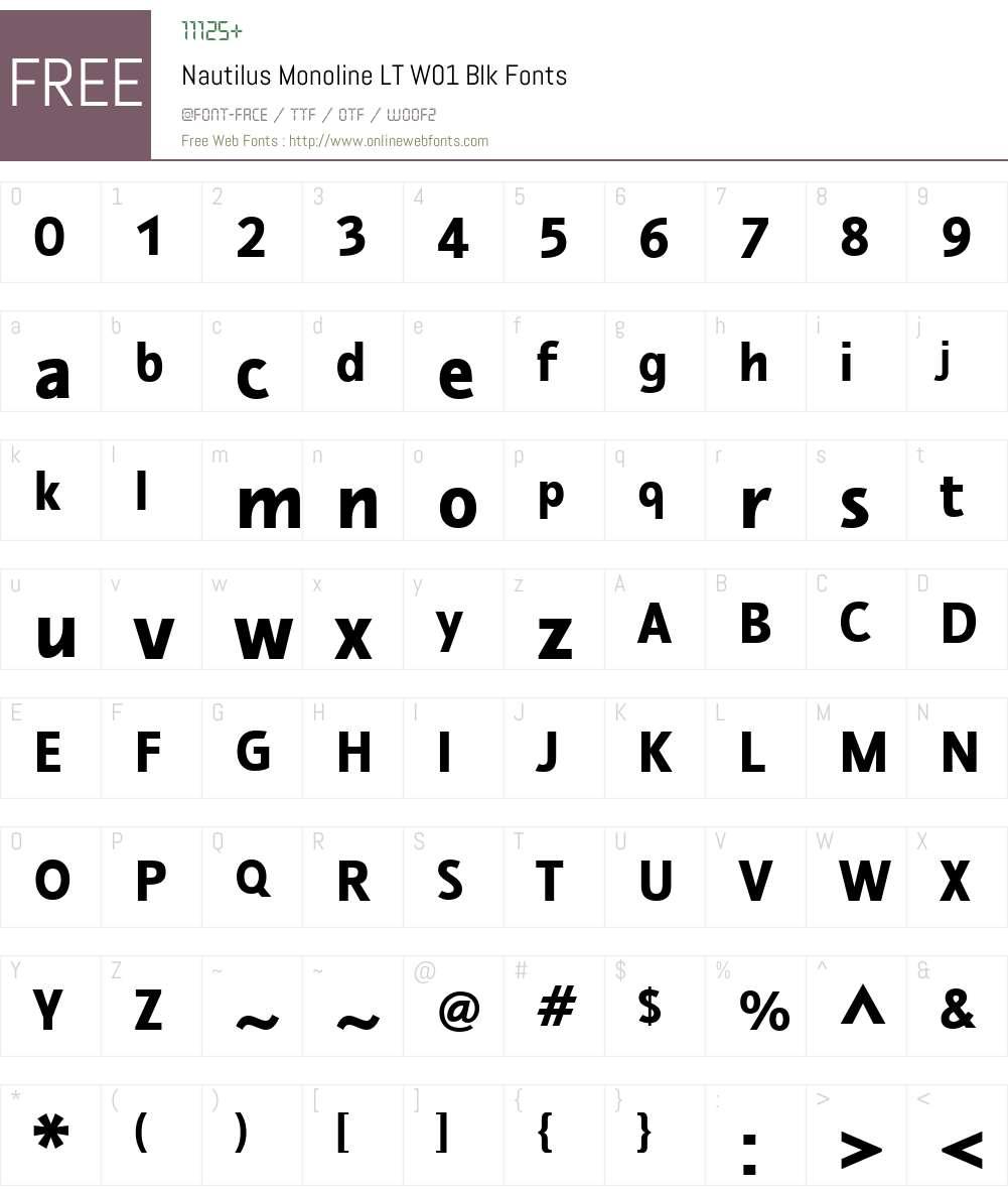 NautilusMonolineLTW01-Blk Font Screenshots