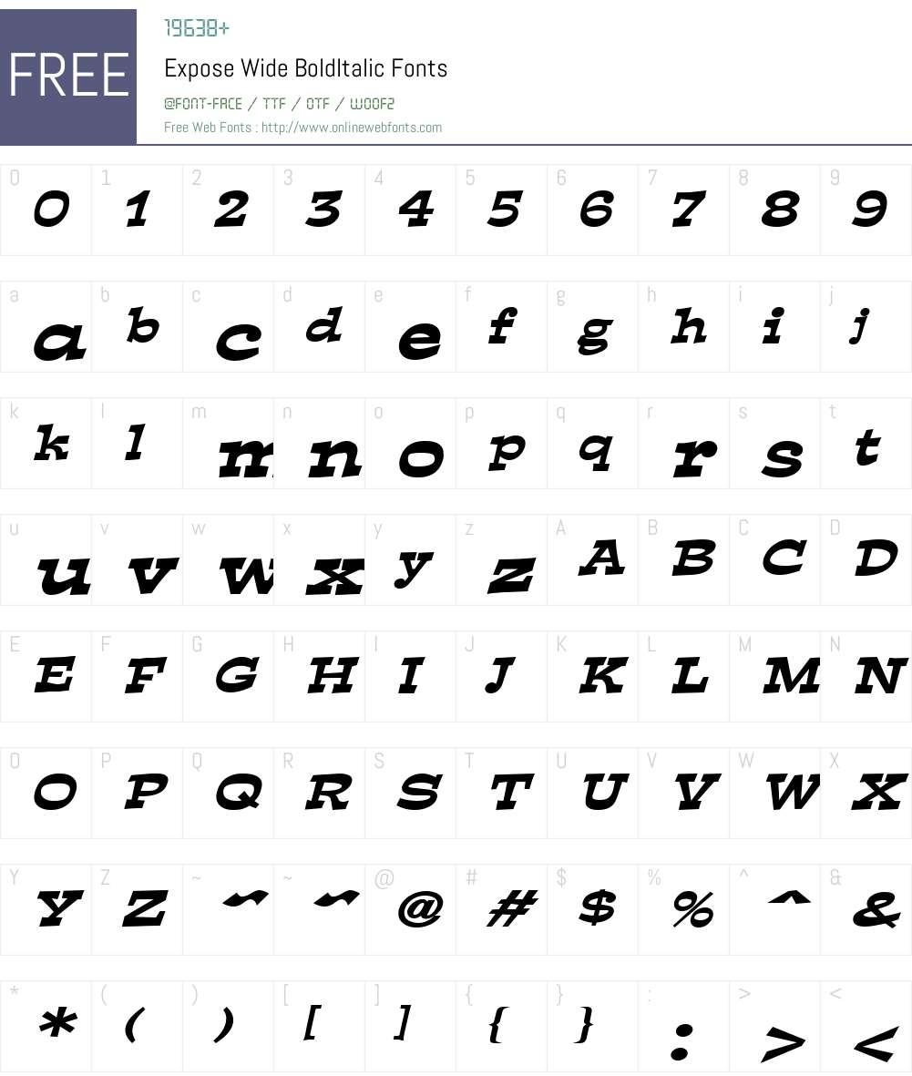 Expose Wide Font Screenshots