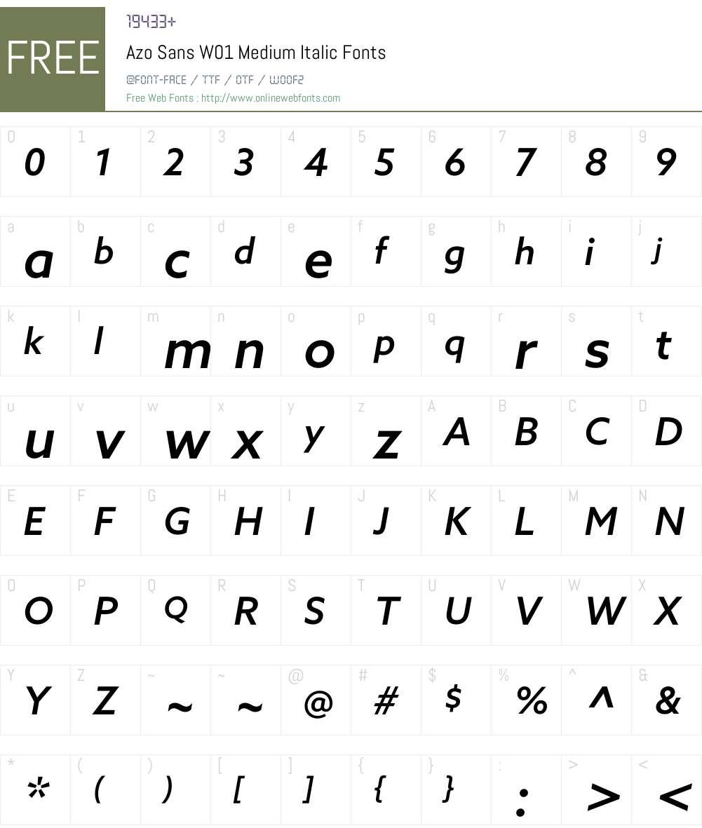AzoSansW01-MediumItalic Font Screenshots