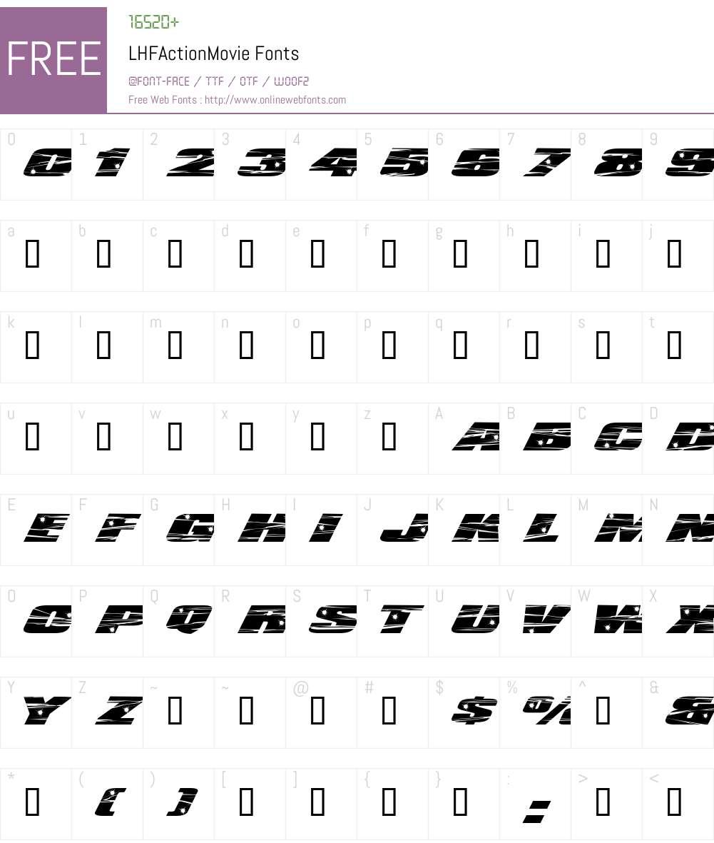 LHFActionMovie Font Screenshots