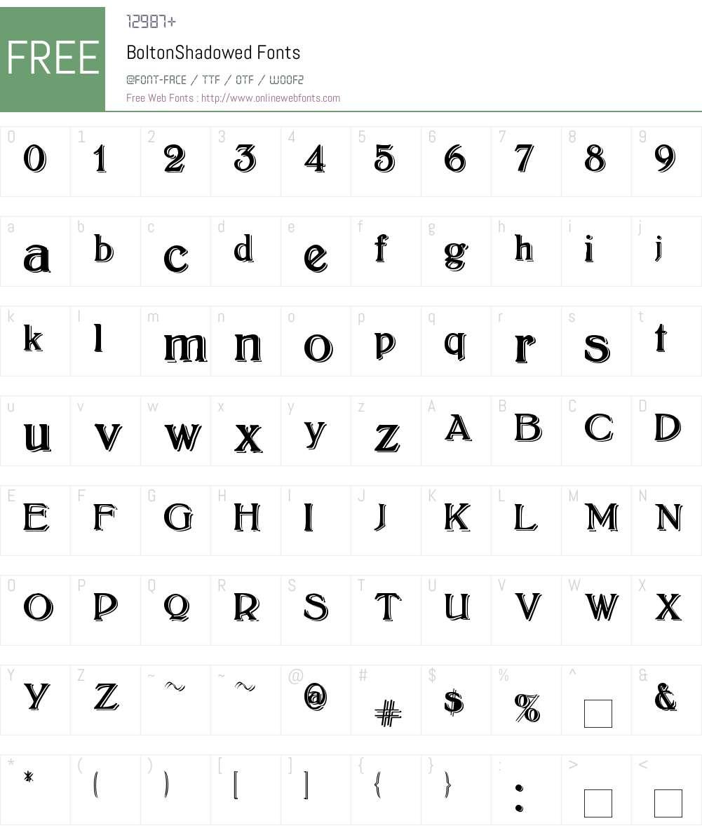 BoltonShadowed Font Screenshots