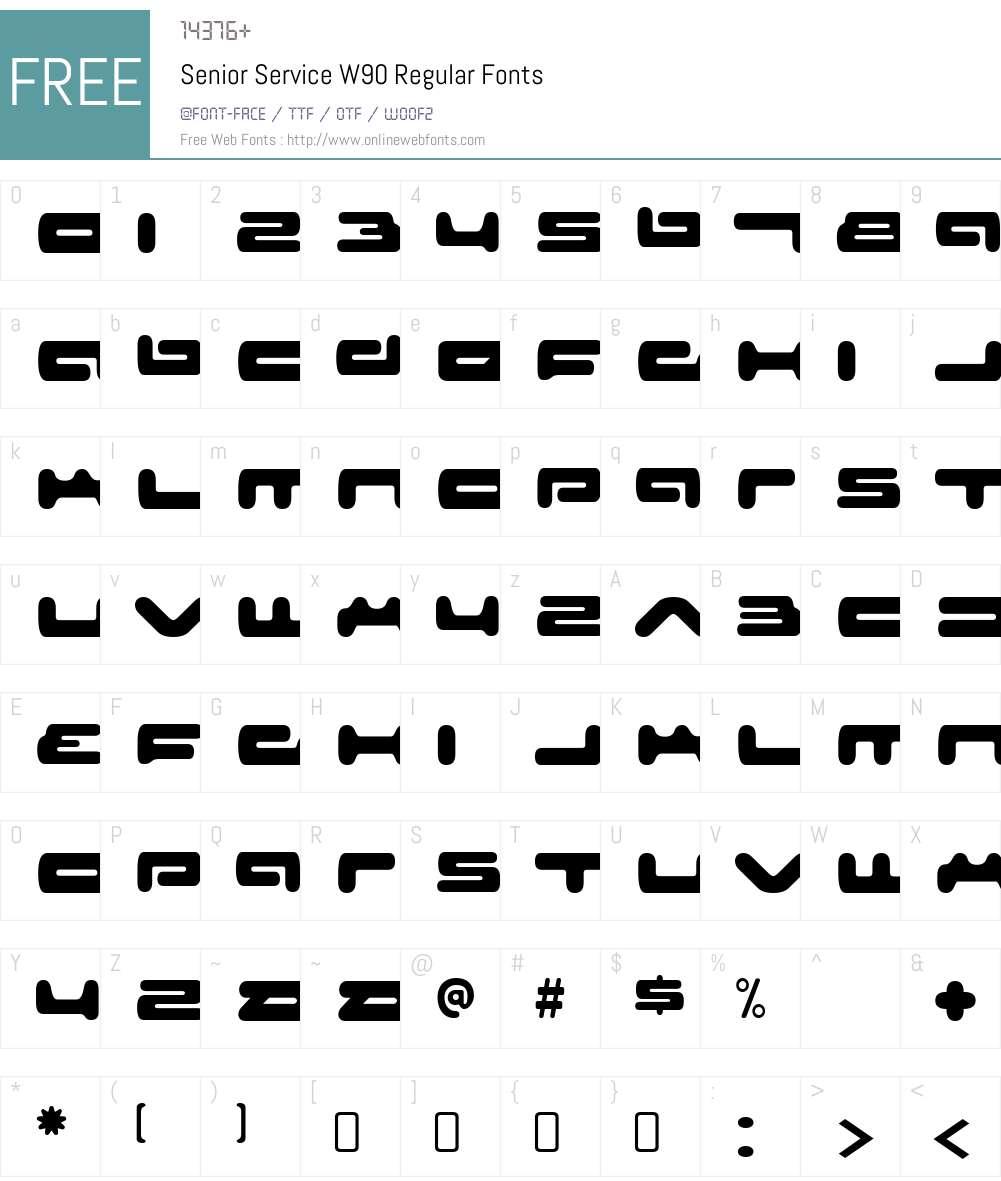 SeniorServiceW90-Regular Font Screenshots