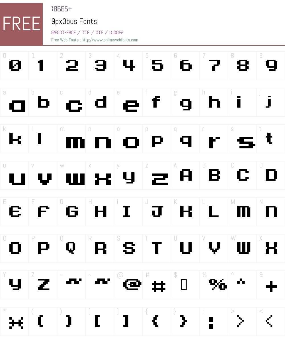 9px3bus Font Screenshots