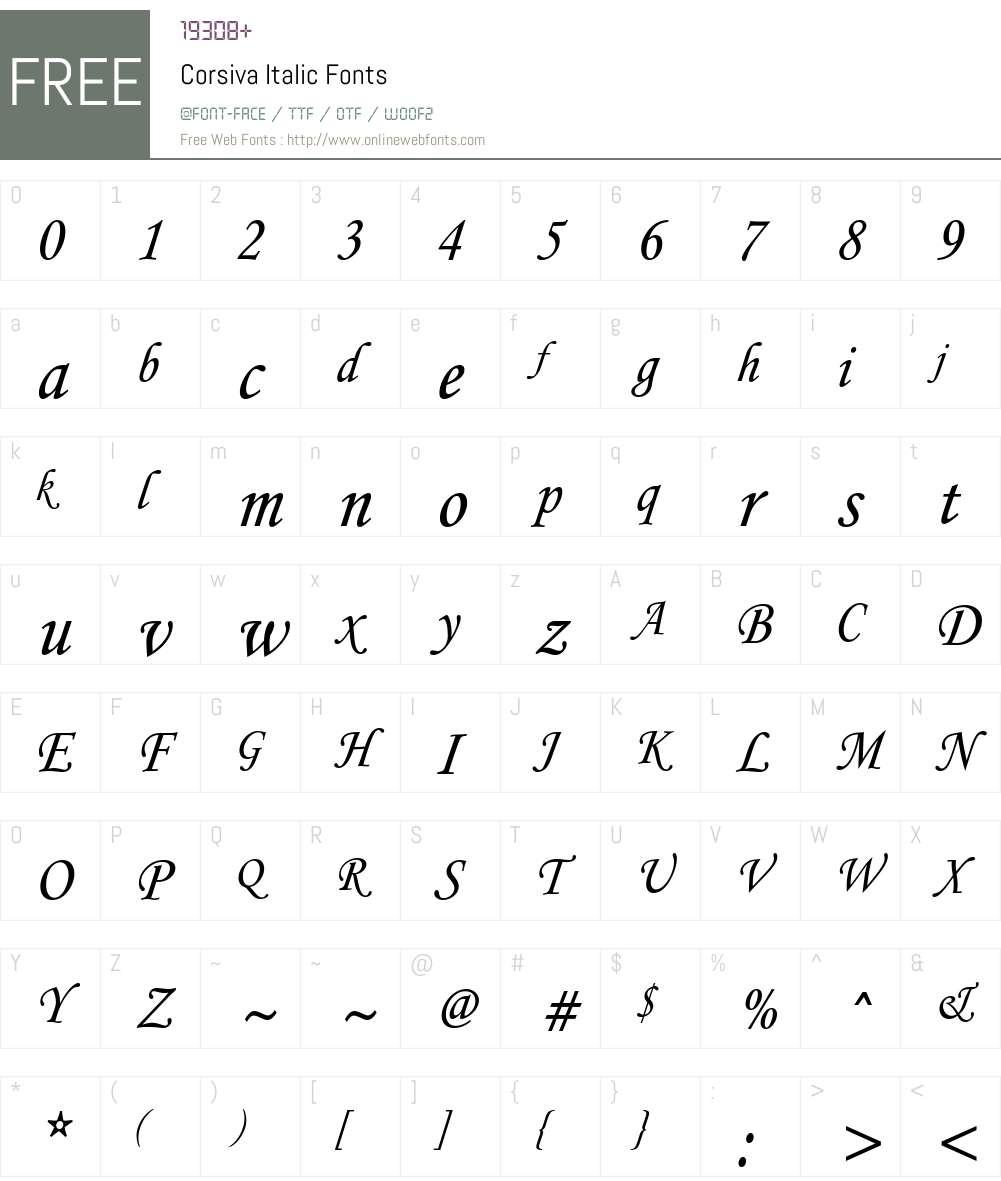 Corsiva-Italic Font Screenshots
