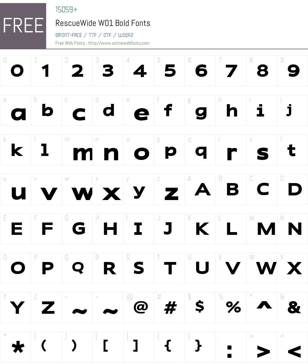 RescueWideW01-Bold Font Screenshots