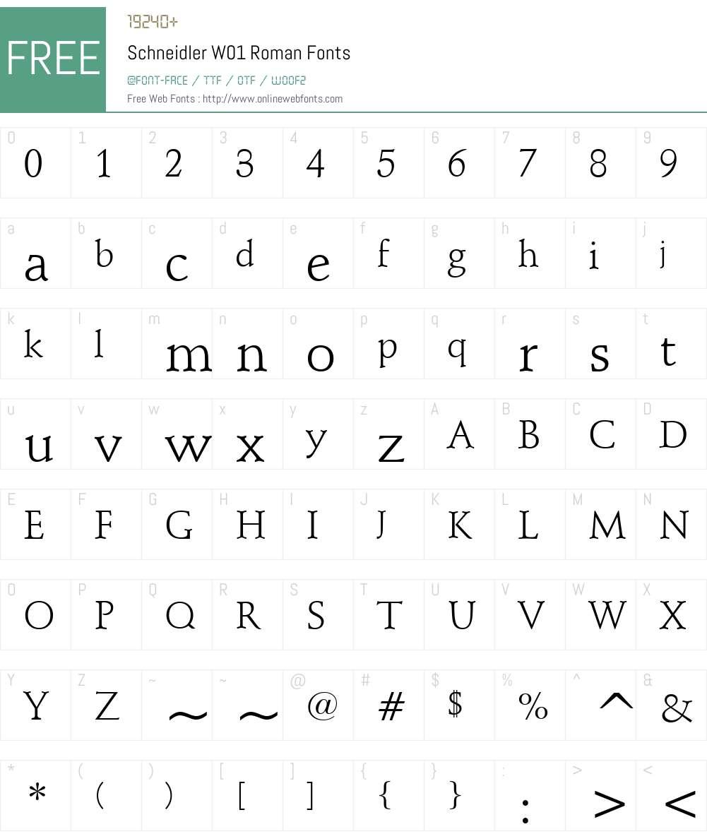 SchneidlerW01-Roman Font Screenshots