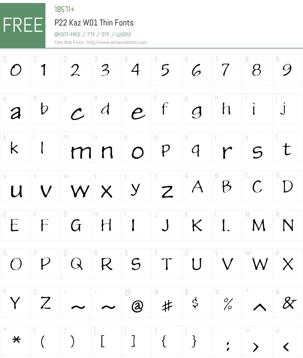 P22KazW01-Thin Font Screenshots