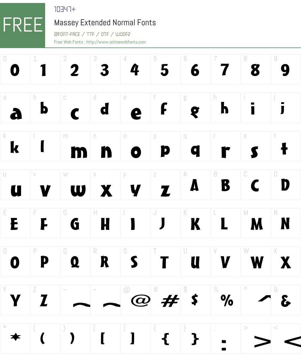 Massey Extended Font Screenshots