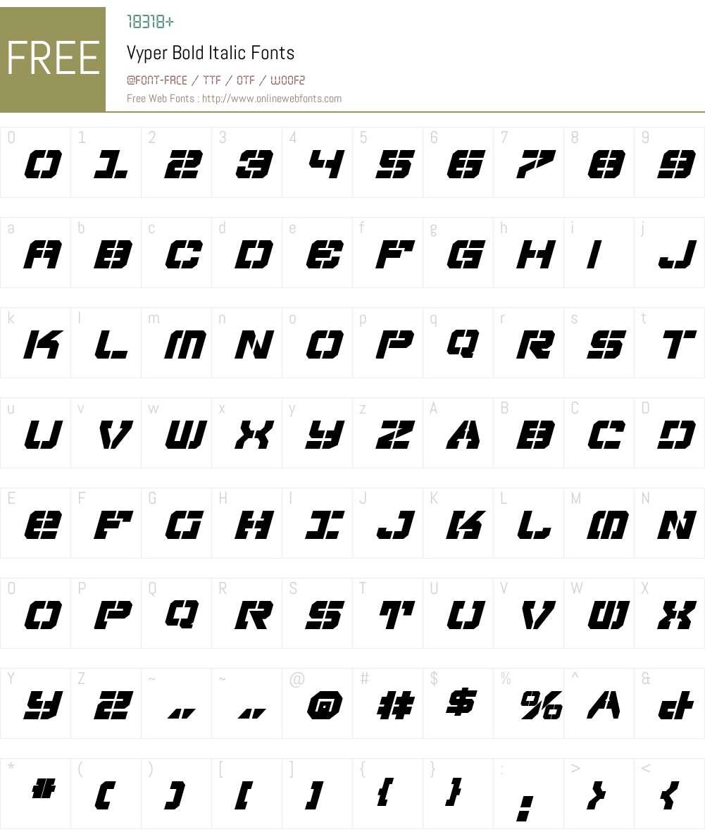 Vyper Bold Italic Font Screenshots