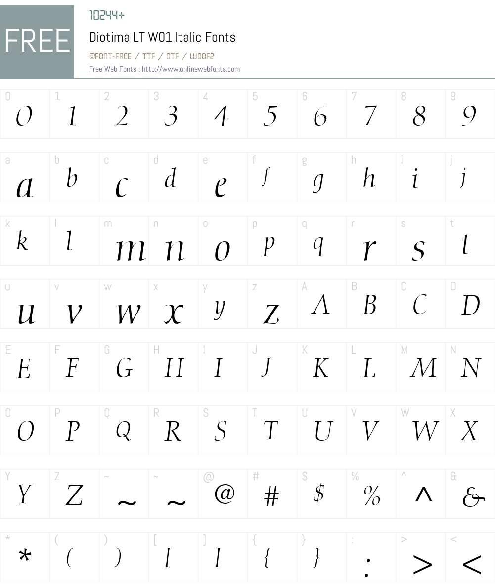 DiotimaLTW01-Italic Font Screenshots