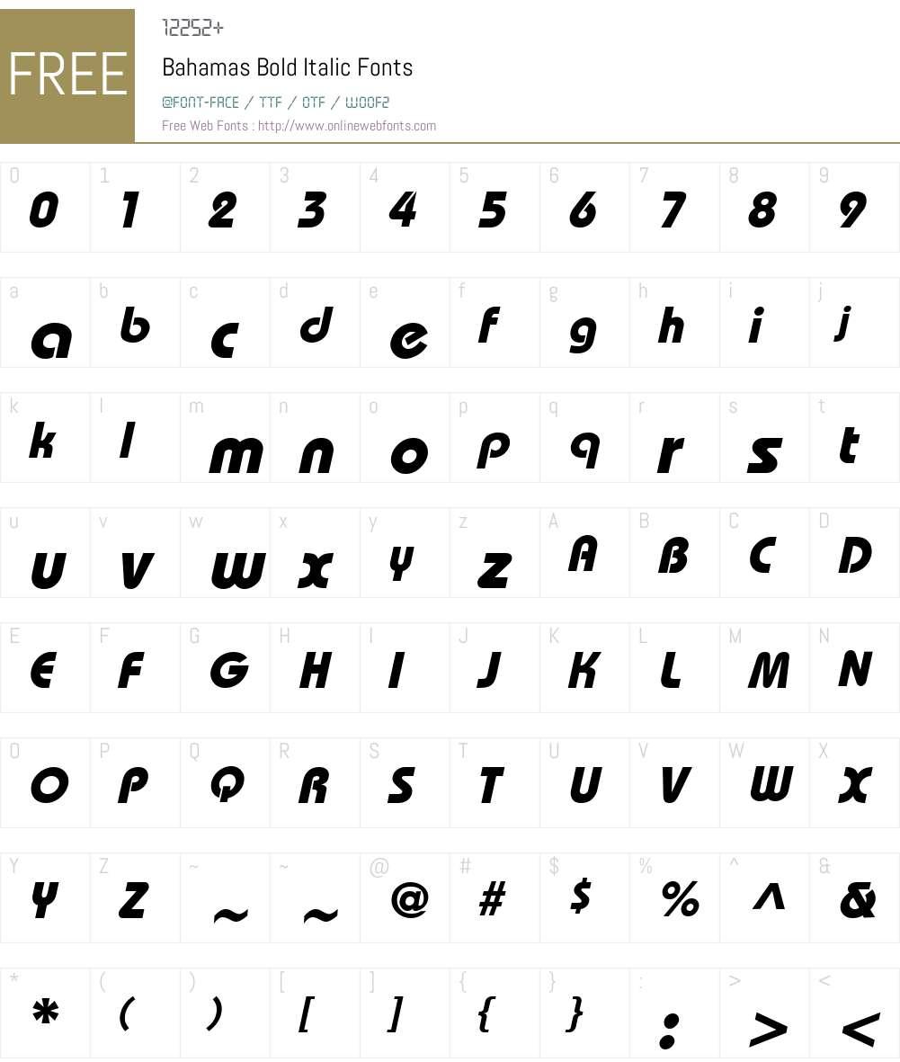 XBahamas Bold Italic Font Screenshots