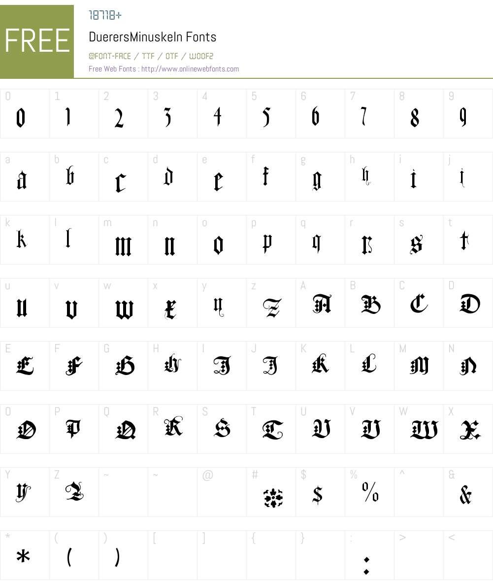 DuerersMinuskeln Font Screenshots