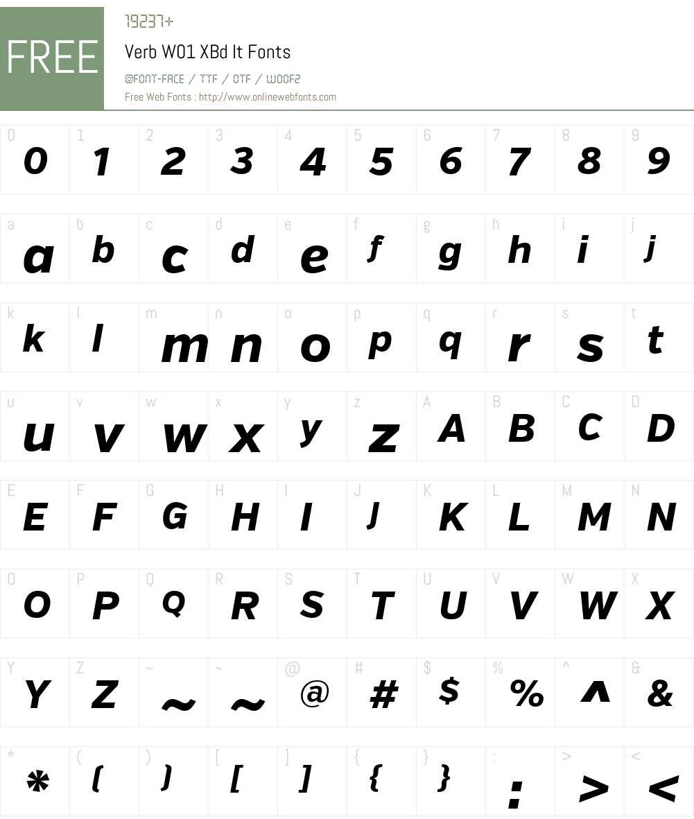 VerbW01-XBdIt Font Screenshots