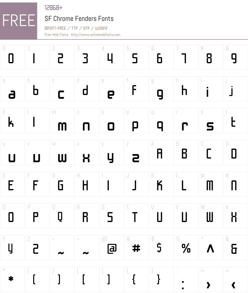 SF Chrome Fenders Font Screenshots