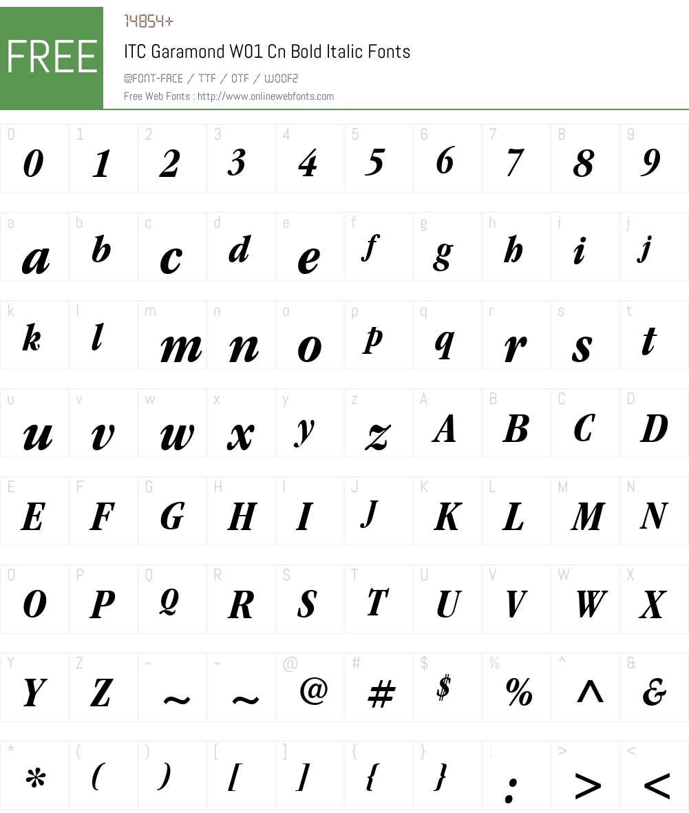 ITCGaramondW01-CnBoldItalic Font Screenshots
