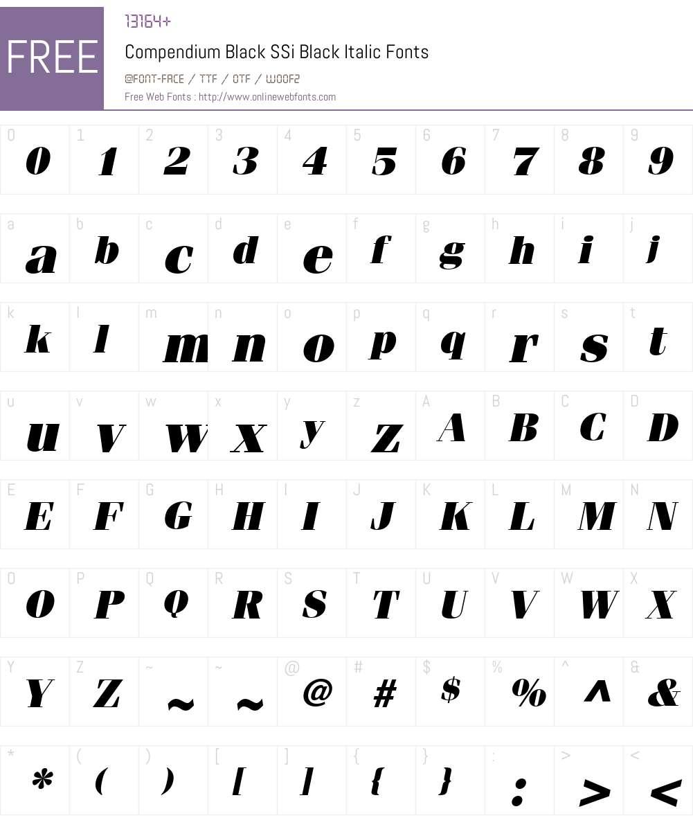 Compendium Black SSi Font Screenshots