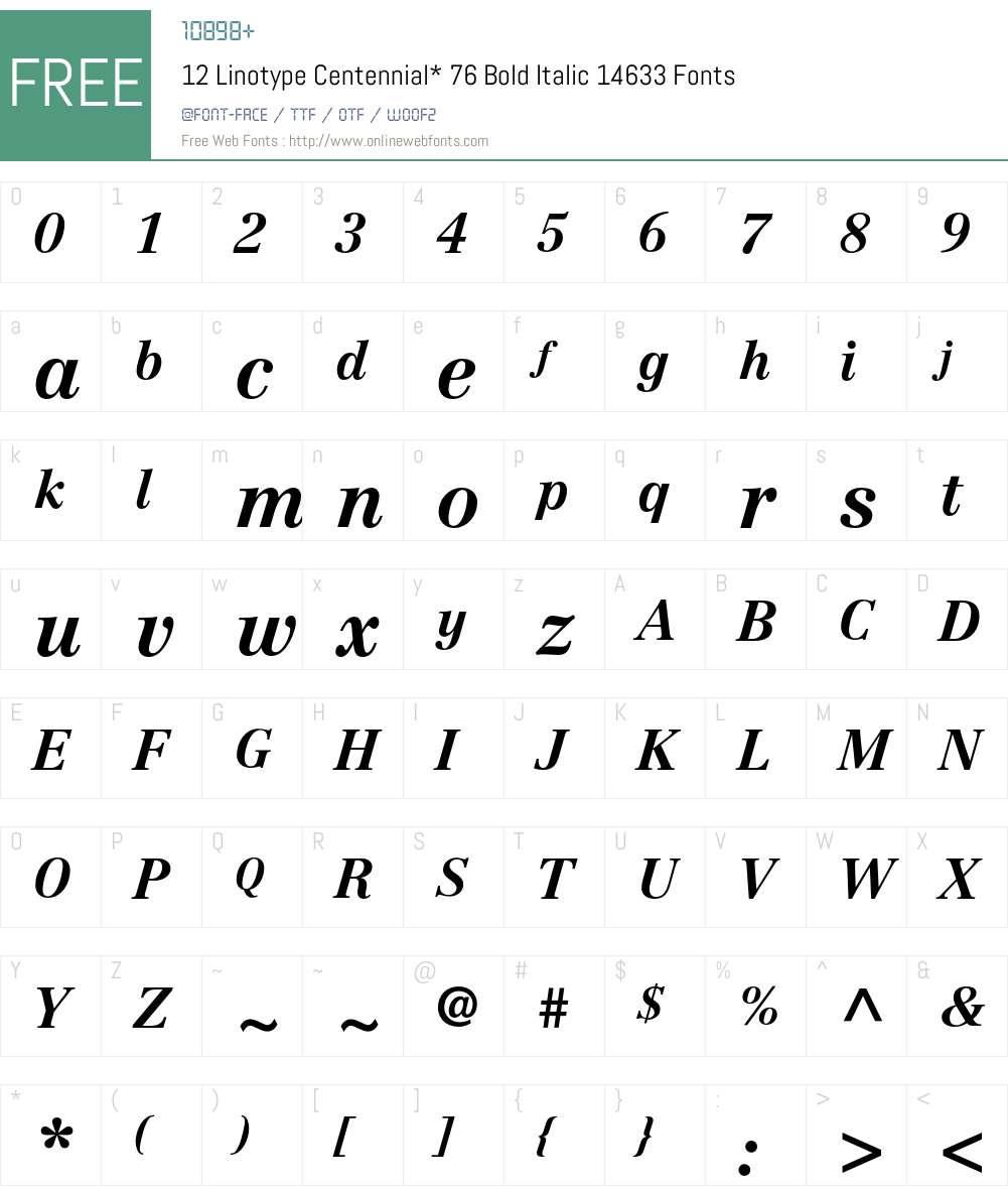 Centennial Font Screenshots