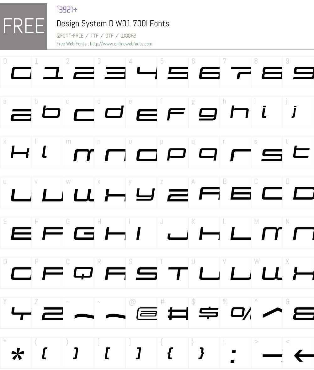 DesignSystemDW01-700I Font Screenshots