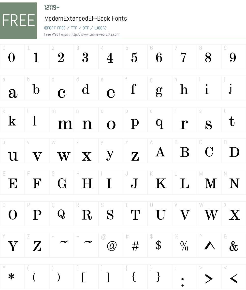 ModernExtendedEF Font Screenshots