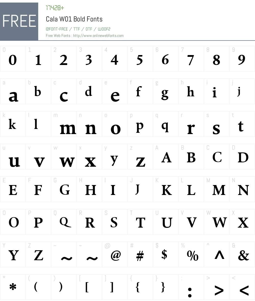 CalaW01-Bold Font Screenshots