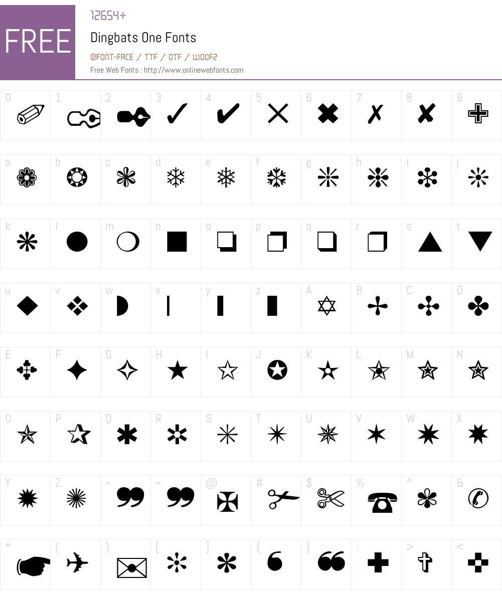 Dingbats One Font Screenshots