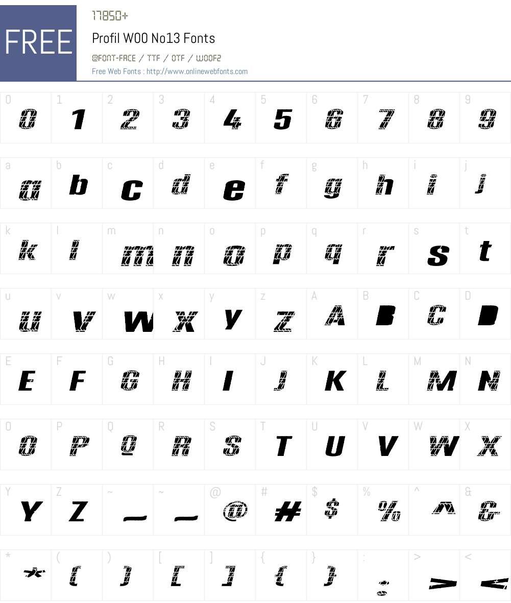 ProfilW00-No13 Font Screenshots