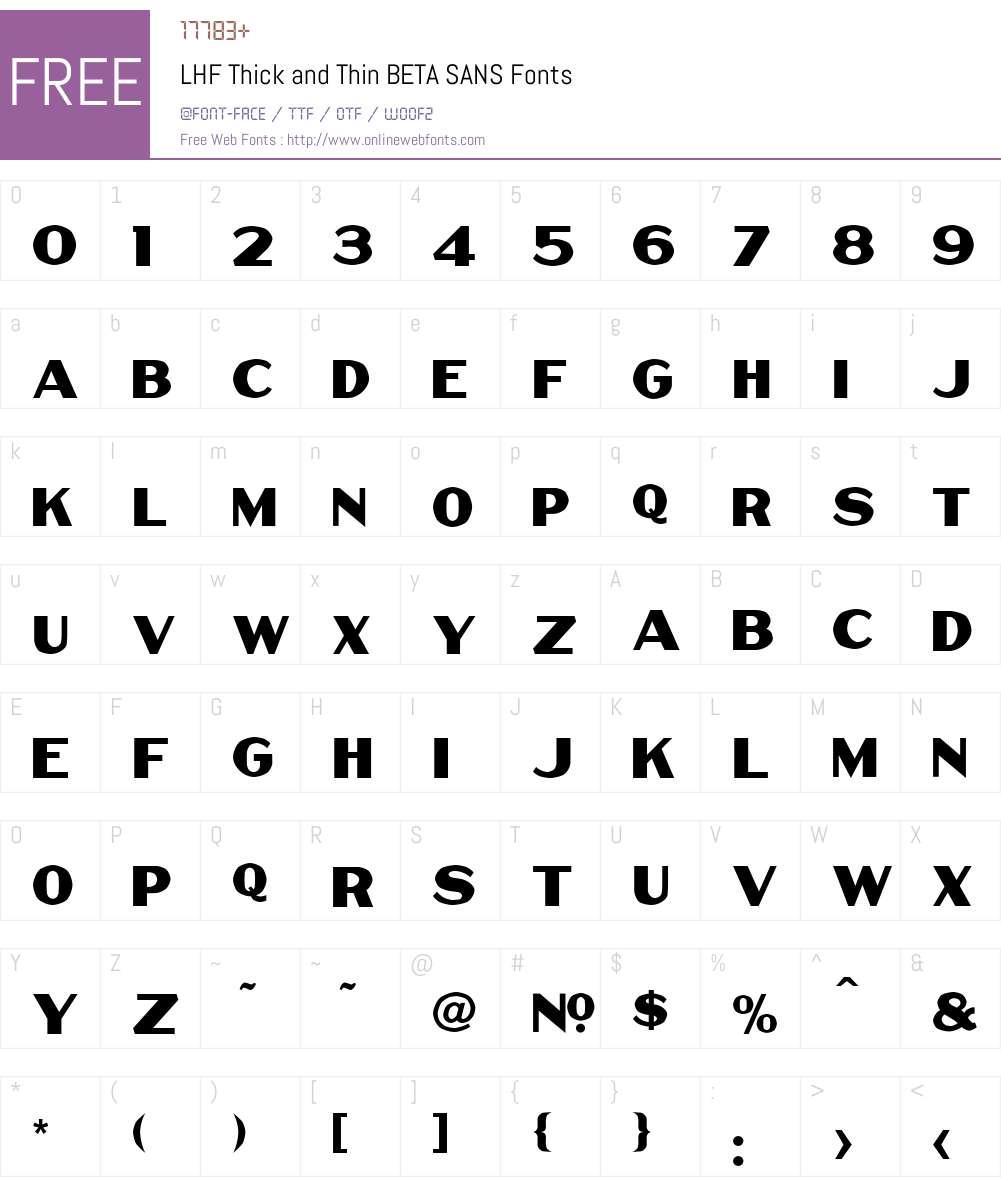 LHF Thick and Thin BETA Font Screenshots