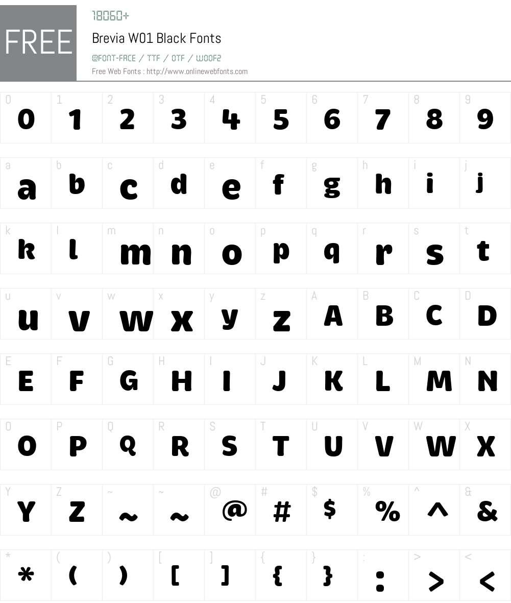 BreviaW01-Black Font Screenshots