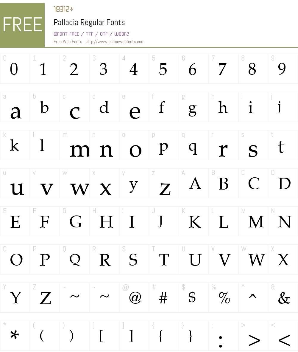 Palladia Font Screenshots