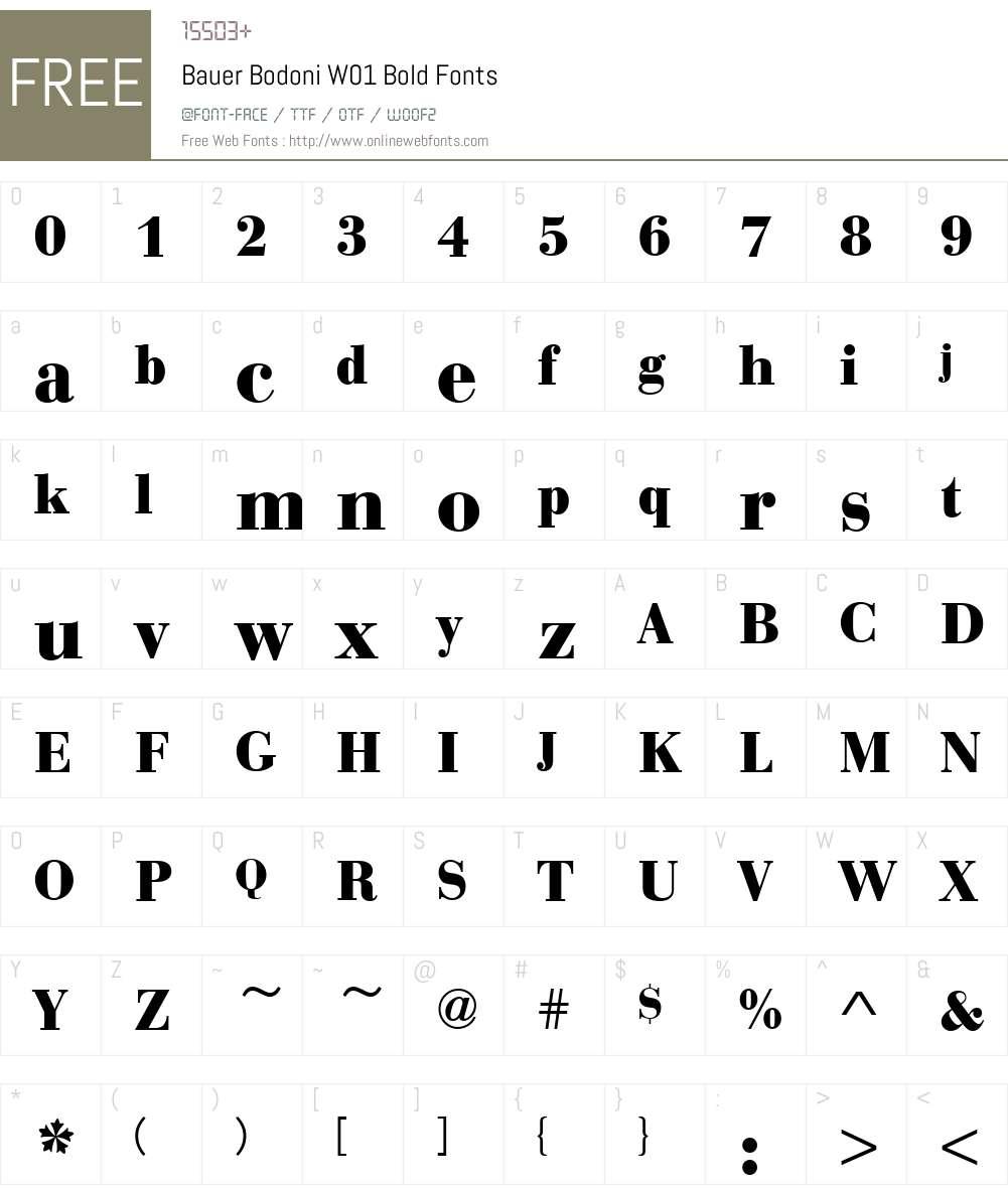BauerBodoniW01-Bold Font Screenshots