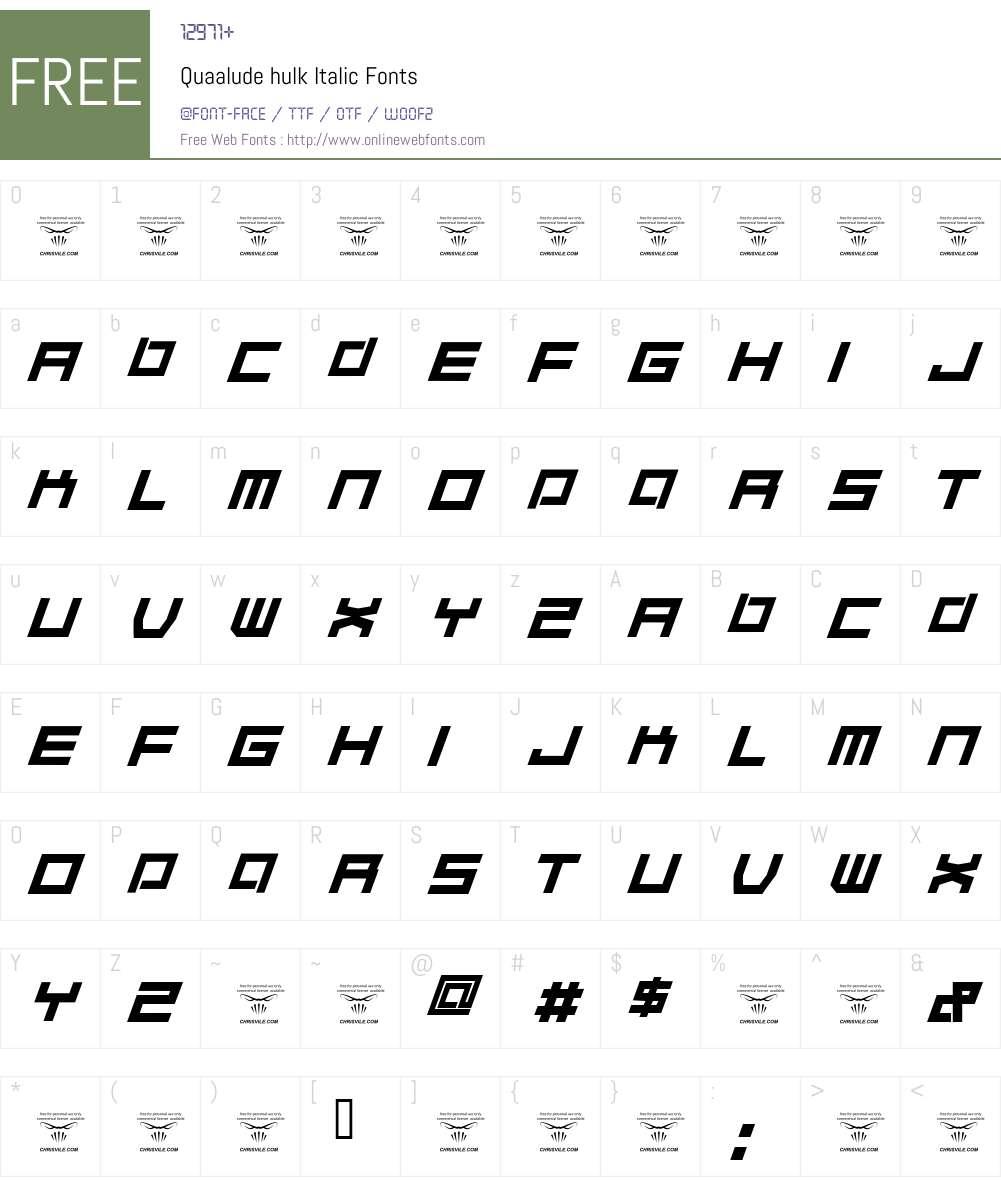 Quaalude hulk Font Screenshots
