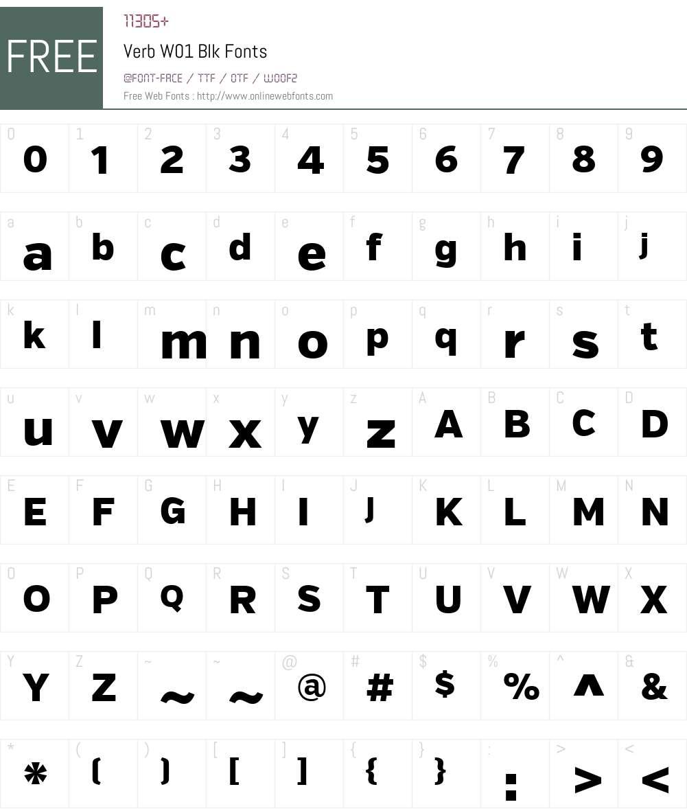 VerbW01-Blk Font Screenshots