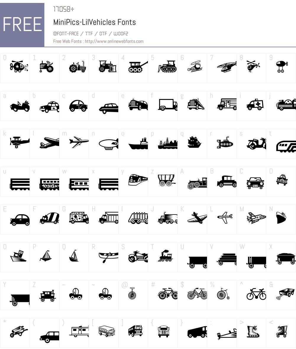 MiniPics Font Screenshots