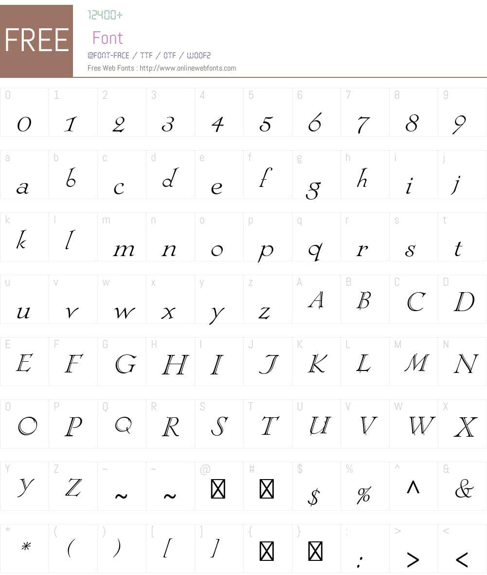 LocarnoW00-LightItalic Font Screenshots