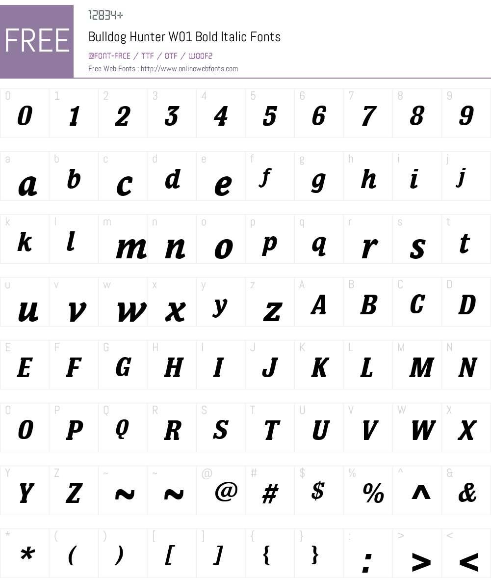 BulldogHunterW01-BoldItalic Font Screenshots
