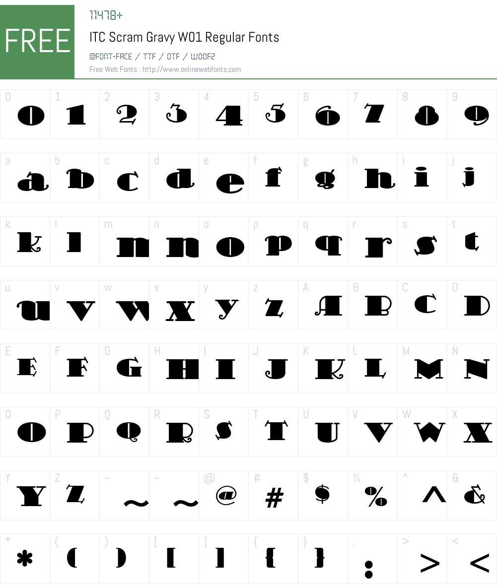 ITCScramGravyW01-Regular Font Screenshots