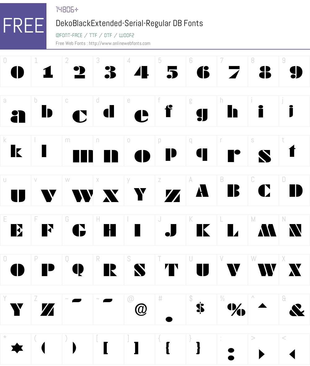 DekoBlackExtended-Serial DB Font Screenshots