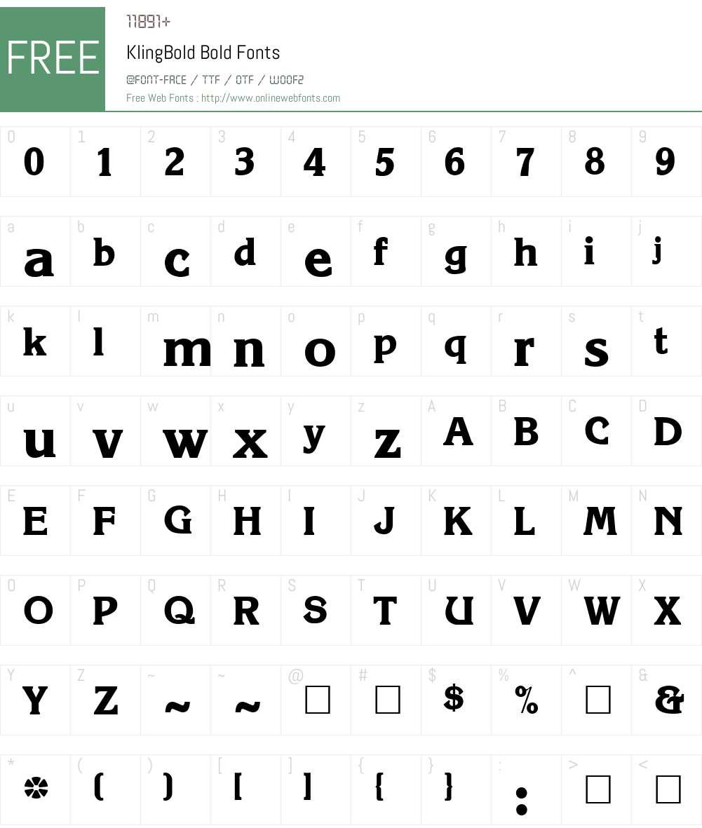 KlingBold Font Screenshots