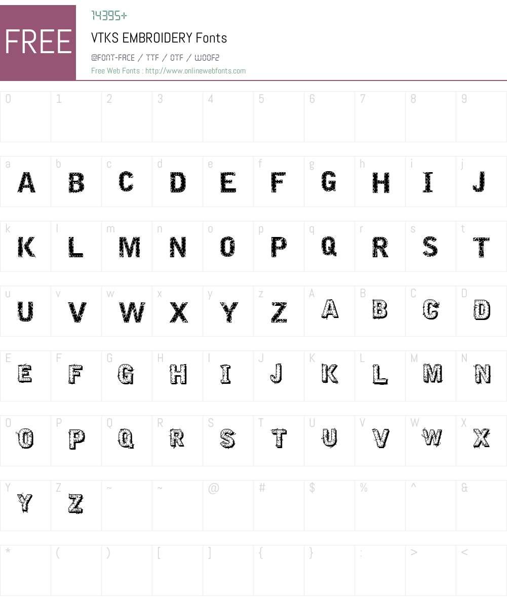 VTKS EMBROIDERY Font Screenshots