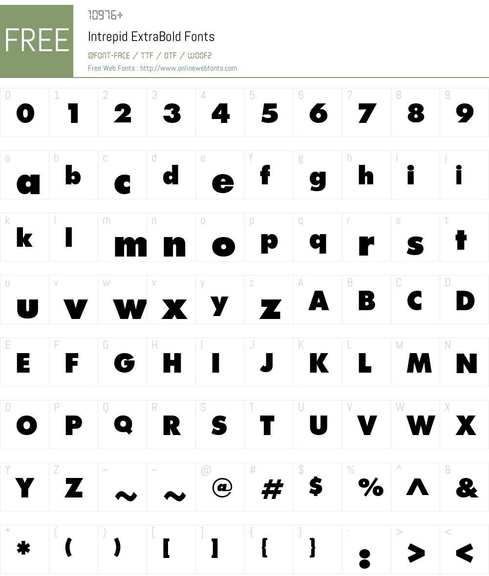 Intrepid ExtraBold Font Screenshots