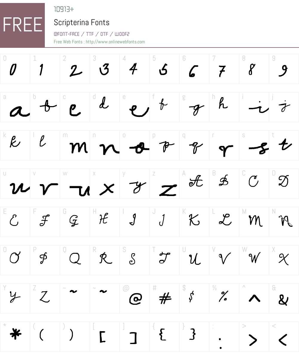 Scripterina Font Screenshots