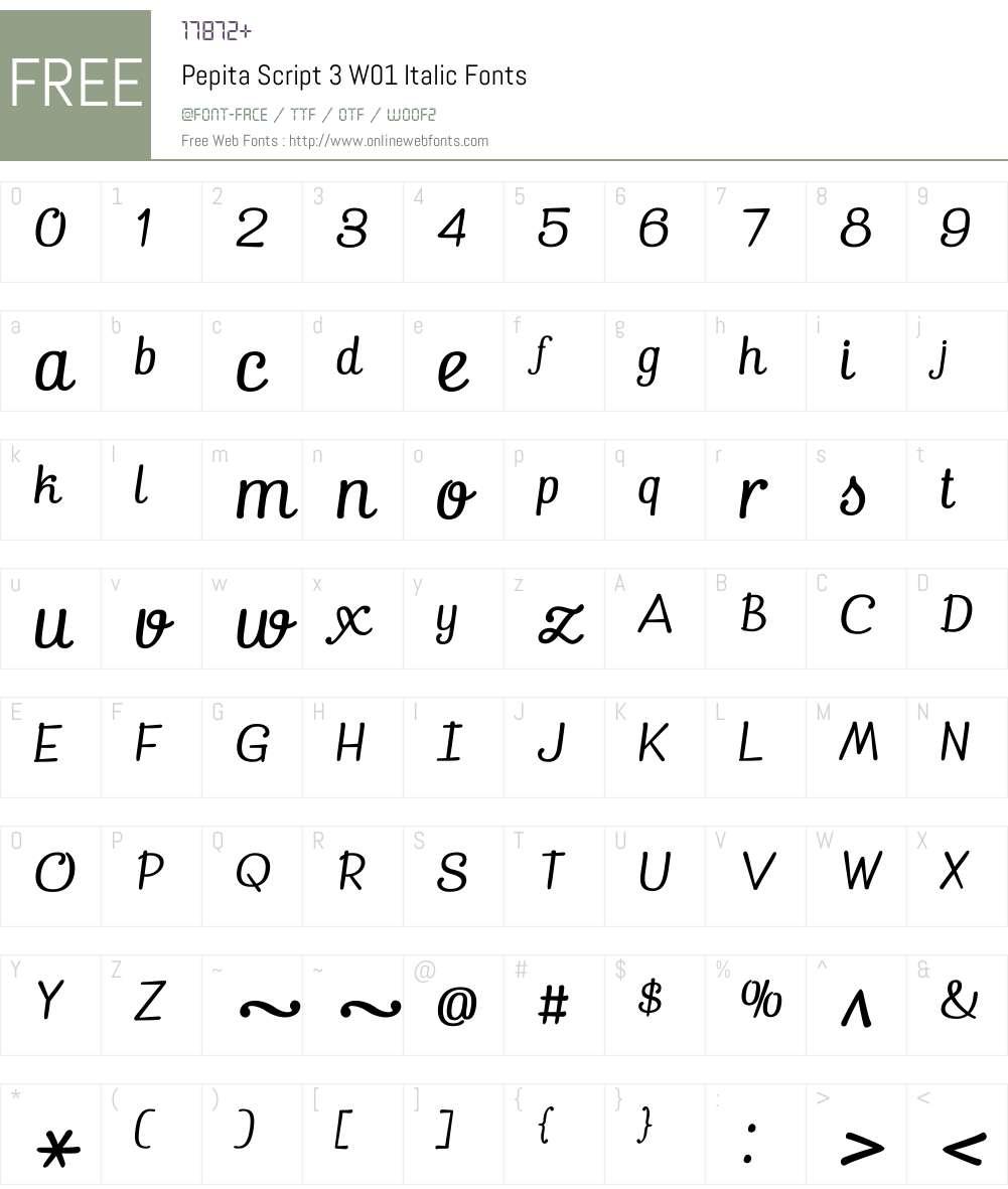 PepitaScript3W01-Italic Font Screenshots