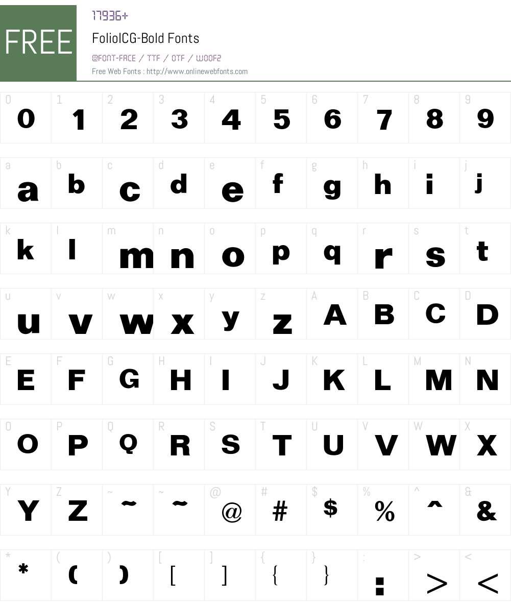 FolioICG Font Screenshots