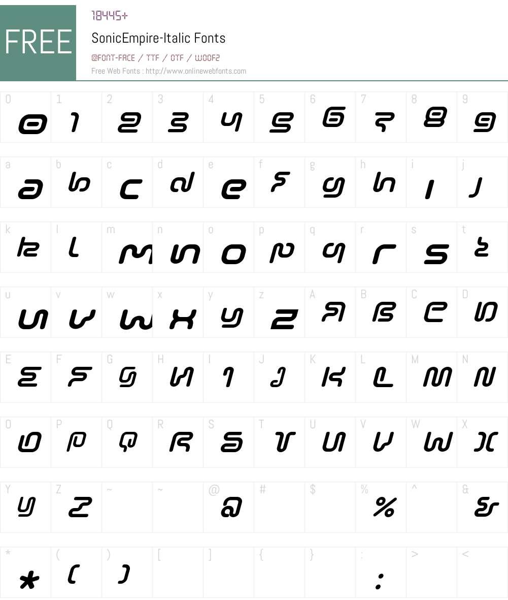 SonicEmpire Font Screenshots