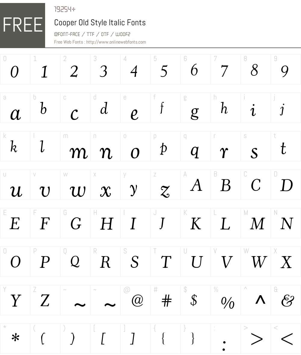 Cooper Old Style BQ Font Screenshots