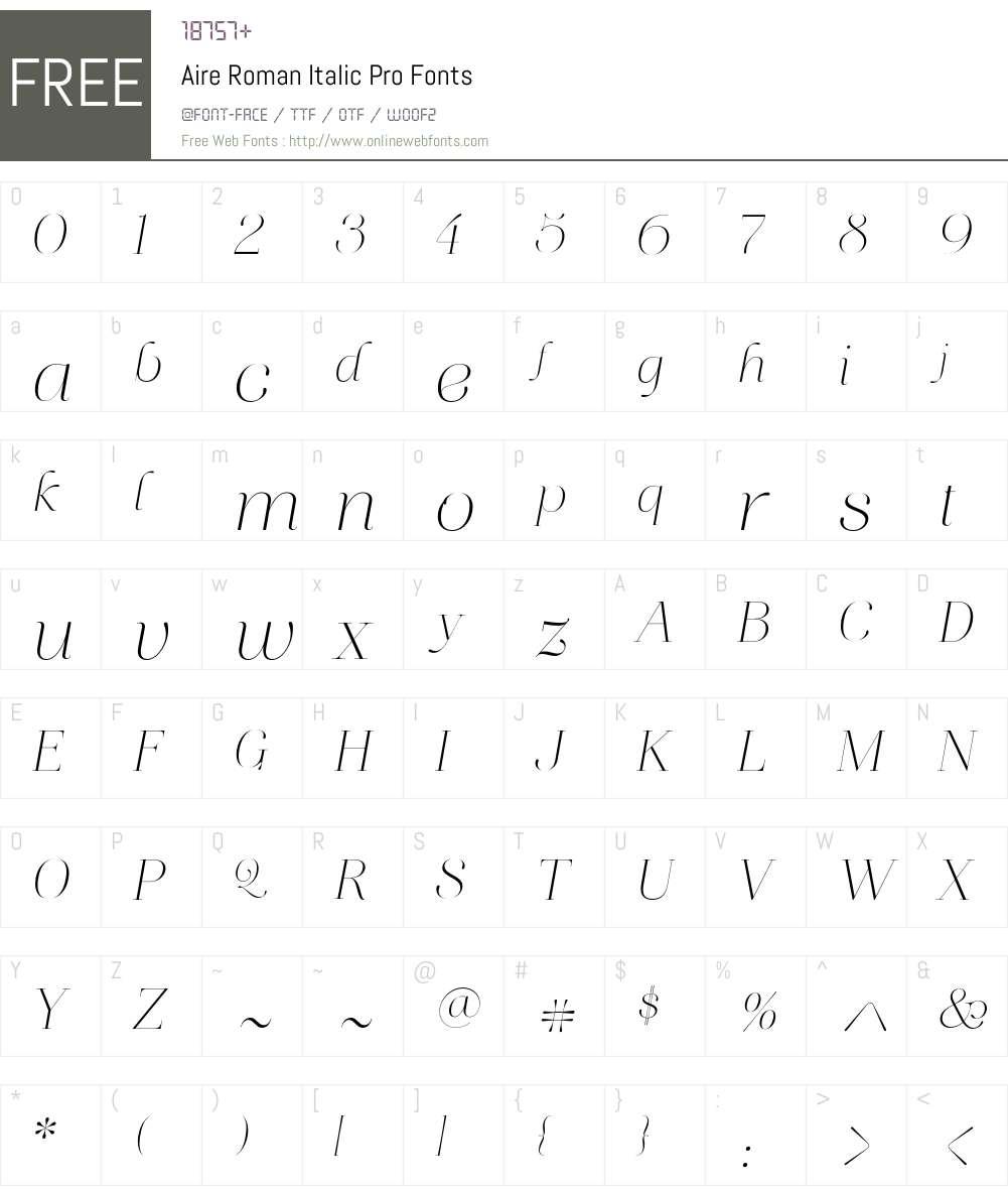 Aire Roman Italic Pro Font Screenshots
