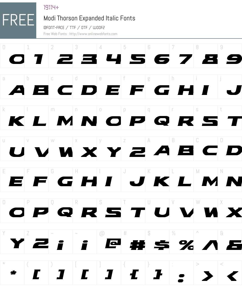 Modi Thorson Expanded Italic Font Screenshots